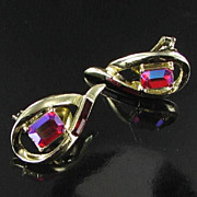 Coro Vintage Signed Clip Back earrings With Volcano Aurora Borealis Emerald Cut Rhinestones