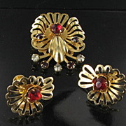 1950s Vintage Brooch and Earring Set - Red Rhinestone Demi Parure