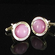 Cufflinks set of pale pink marbled lucite cuff link unisex mens jewelry