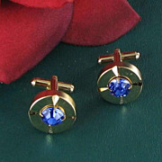 cufflinks cuff link set of dark blue RHINESTONES mens jewelry unisex