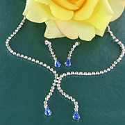 Clear & blue RHINESTONES demi necklace earrings set