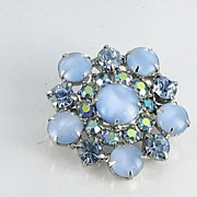 Blue Moonstone Brooch Pin with Aurora Borealis AB Rhinestones