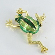 Cute Green Enamel and Rhinestone Frog Figural Brooch Pin