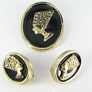 Black Americana Vintage Cameo Demi Parure Brooch Earrings Set