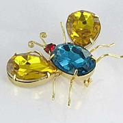 Cute Vintage Big Rhinestone Bug Figural Brooch Pin