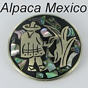 Alpaca Silver Hecho en Mexico Abalone Inlay Signed Brooch Pin