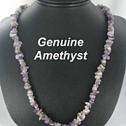 "Chunky Amethyst 10mm 35"" Gemstone Necklace purple"