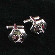 Vintage dark red domed RHINESTONE cufflinks cuff link set
