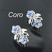 Coro Blue Rhinestone Flower Clip Back Vintage Earrings