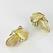 Lisner Translucent Thermoset AB Rhinestone Clip Back Earrings Vintage Leaf