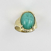 Sacred Heart Green Glass Ring Gold tone Adjustable Vintage