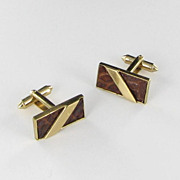 Vintage Snakeskin Cuff links cufflinks Mens jewelry Brown Gold tone