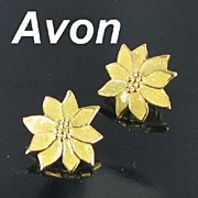 Avon Yellow Glitter Enamel Poinsettia Clip Back Earrings