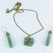1/20 12K Gold filled Jade demi parure Elephant pendant necklace pierced earrings