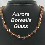 Amber Aurora Borealis Glass Necklace Flowered Box Clasp
