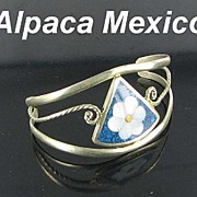Alpaca Mexico Pietra Dura Flower Child's Bracelet Open Back