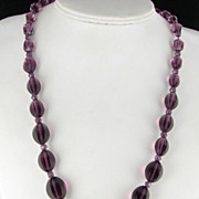 "SALE Burgundy glass beaded necklace Vintage 30"" long"