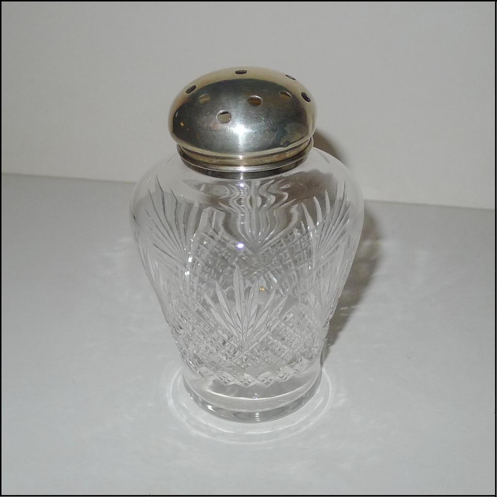 STERLING Top Cut Glass Muffineer [Sugar Shaker]