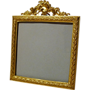 19th C. Miniature Square French Bronze Frame with Dore Finish