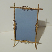 19th C. DORE Finish Brass Cabinet Card Frame w/Beveled Glass