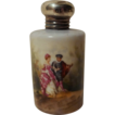 "19th C. Continental Porcelain 2"" high Miniature Perfume with Sterling Top"