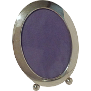 "American ART DECO Oval Sterling Picture  Frame 6 3/4"" Tall"