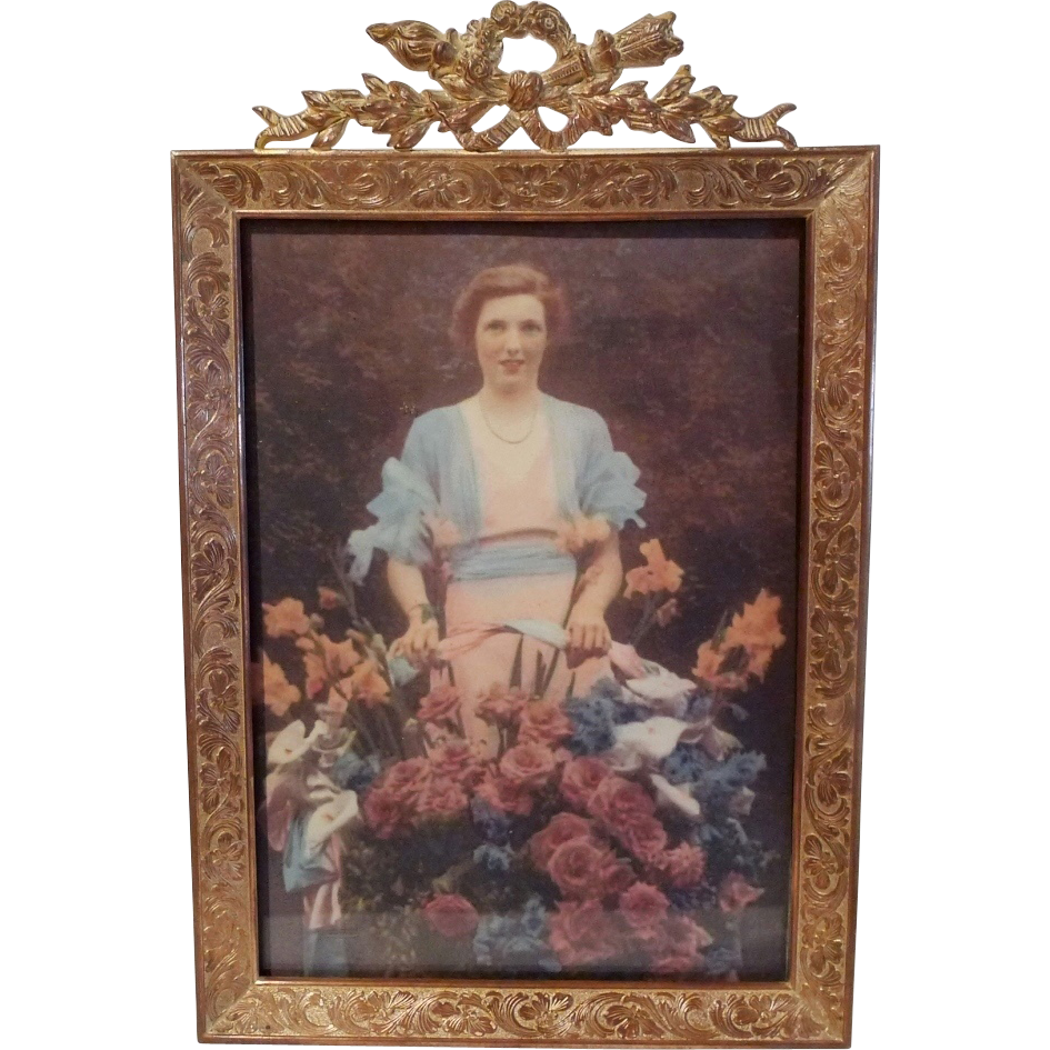 Antique French Torch Top 5 X 7 Picture Frame From