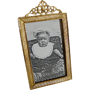 Antique English Brass Gold-Plated Miniature Photo Frame