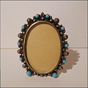 Vintage  BLUE GLASS Oval Frame mkd. Italy