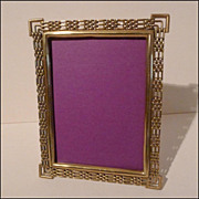 Antique English Brass &quot;Chain Link or Ring&quot; Photo Frame