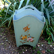 Vintage 1930s Hand-Painted Magazine Rack