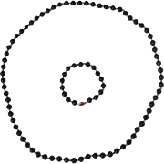 "Onyx and 14K Gold 30"" Necklace and Bracelet"