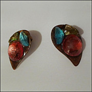 "Vintage Handmade Enamel Clip Earrings with colored ""Stones'"
