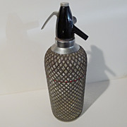 "ENGLAND ""Sparklets"" Wire Mesh Soda Bottle 14"" Tall"
