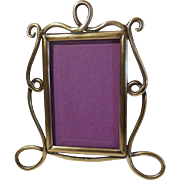Miniature Art Nouveau English Brass Frame w/Beveled Glass