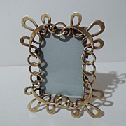 Miniature Brass  ART NOUVEAU English Loop/Whiplash Frame 3 3/8&quot; High