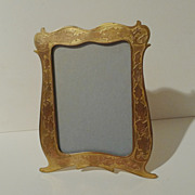 19th C. Gold-Plated Brass Unusual Two Tone Photo/Picture Frame