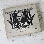 REDUCED George Washington Puzzle 1910-1920 wood Sliding