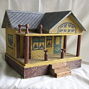 REDUCED Converse Antique Doll House Vintage Original Stenciled Wood Cottage with Bay Window