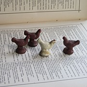 Vintage Rubber Farm Animal Set of 4 Chickens or Hens