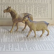 REDUCED Celluloid Horse and Goat, Vintage Farm Animal Toy or Christmas Putz Village