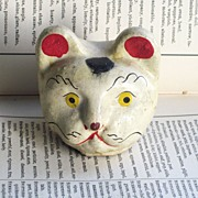 REDUCED Paper-mache Puppet or Marionette Cat Head Hand Painted
