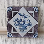 REDUCED Delft Fruit Basket Tile from The Netherlands, WWII Memorabilia