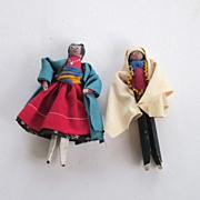 REDUCED Vintage Clothes Pin Dolls Folk Art