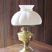 REDUCED Brass Aladdin Lamp, Electrified White Milk Glass Shade.
