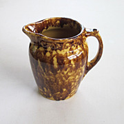 REDUCED Brush McCoy Nurock Spatter Ware Yellowware Pitcher Brown Glaze Sponge