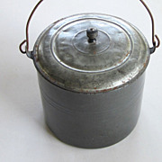 REDUCED Grey Enamel Bucket Pail Granite Ware Tin Lid Graniteware