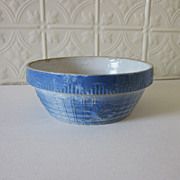 REDUCED Stoneware Blue Basket Weave Daisy Crock Bowl Salt Glaze