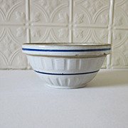 Stoneware Crock Bowl with Blue Band
