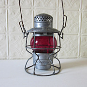 REDUCED Railroad Lantern Red Glass Chicago Milwaukee St Paul Railway